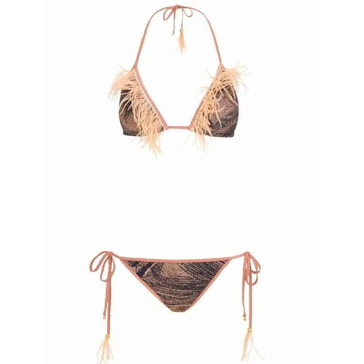 triangle bikini med fjer