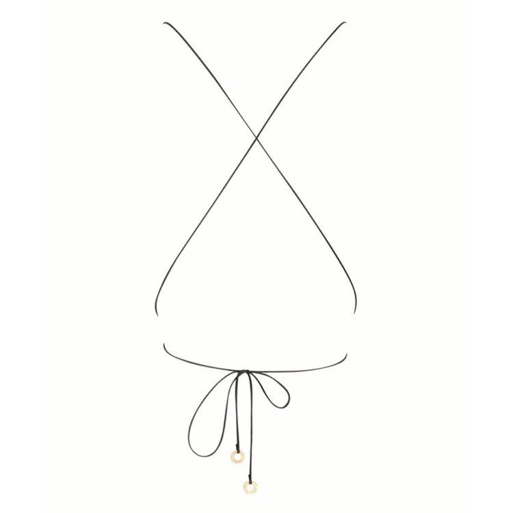 square silk string crop top