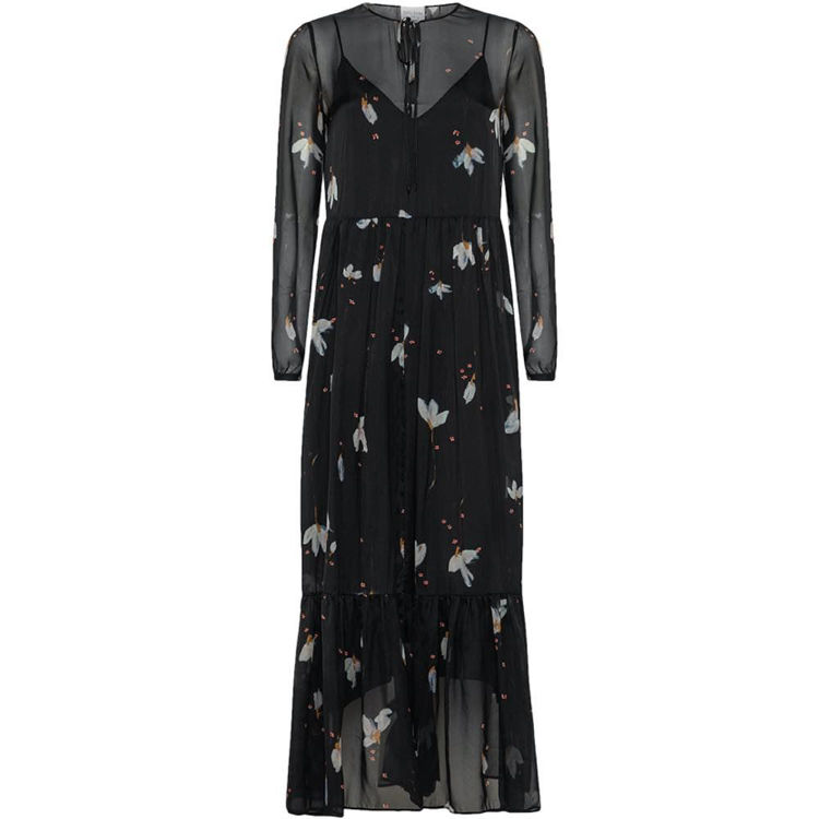 chiffon silk lang kjole m. print