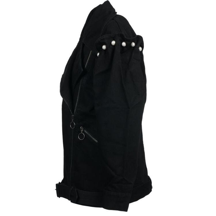 denim biker jacket with pearl
