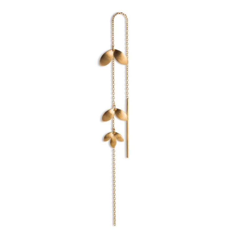 Chain earring 3 leaves guld