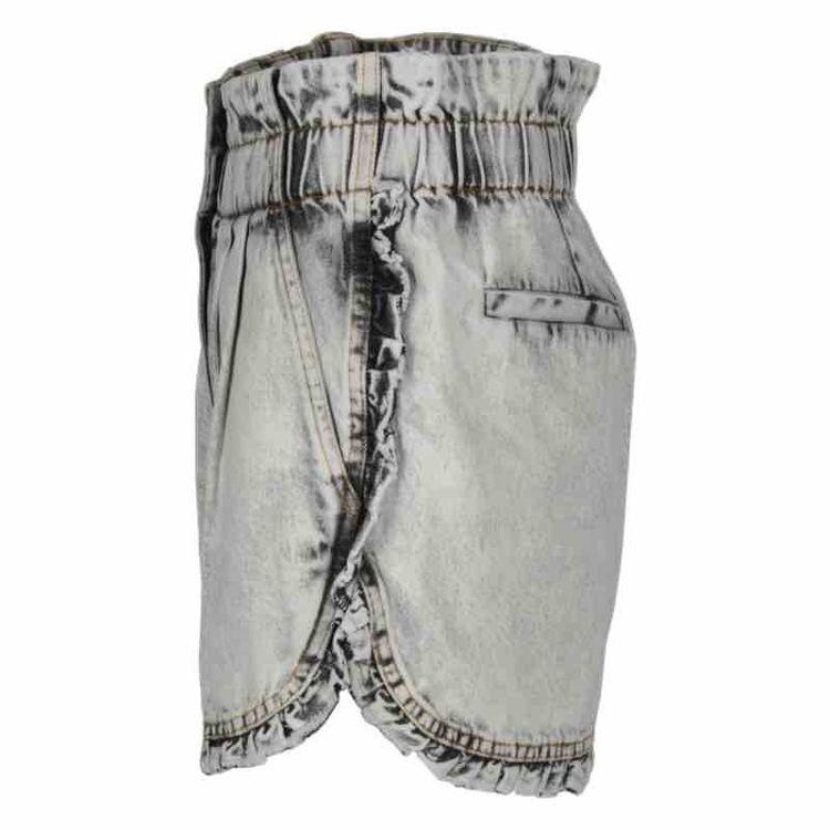 denim ruffle shorts