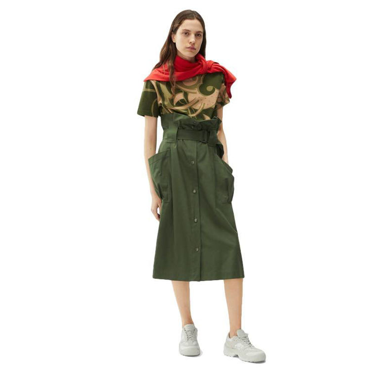 Belted skirt with pockets