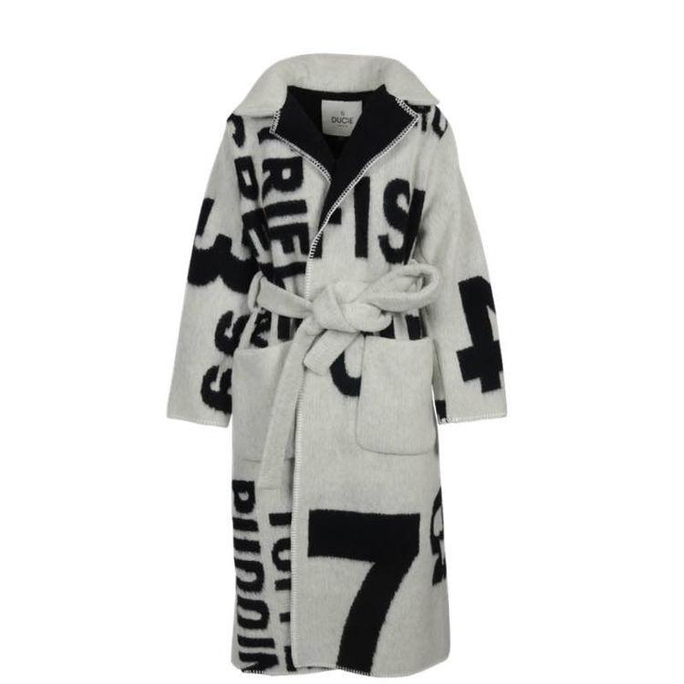 printet uld frakke