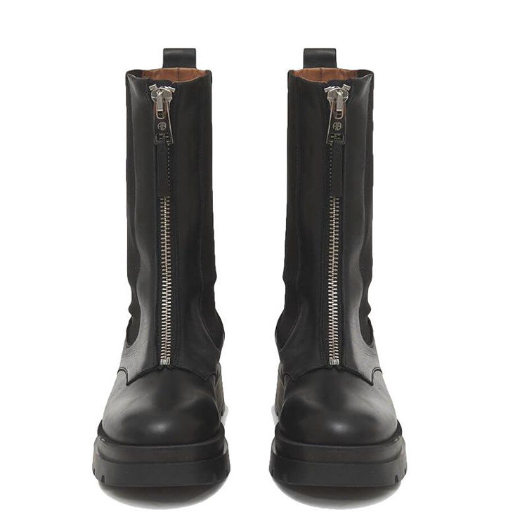 chunky riding boot with zipper